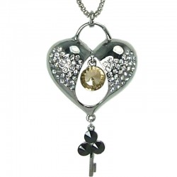 Costume Jewellery, Fashion Women Gift, Love Heart Lock & Key Pendant Long Necklace