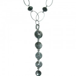 women Classic Fashion Jewellery, Smokey Grey Diamond Dripping Long Costume Drop Necklace