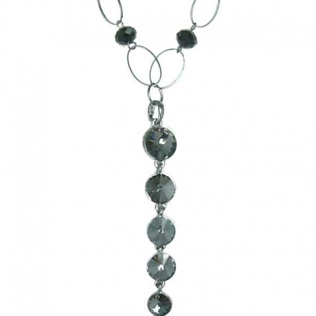 women Classic Fashion Jewellery, Smokey Grey Diamond Dripping Long Costume Drop Necklace