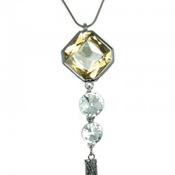 Topaz Hexagon Rhinestone Tassel Long Drop Necklace