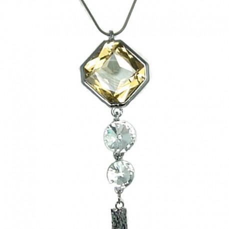 Topaz Hexagon Rhinestone Tassel Long Drop Necklace