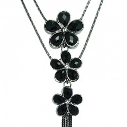 Women Fashion Jewellery, Triple Black Rhinestone Daisy Flower Double Strand Costume Long Necklace