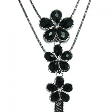 Women Fashion Jewellery, Triple Black Rhinestone Daisy Flower Double Strand Costume Long Necklace