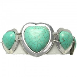 Chic Costume Jewellery, Semi Precious Natural Stone Heart Turquoise Link T-Bar Costume Bracelet