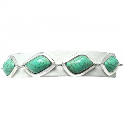 Semi-precious Turquoise Olive Shaped Teardrop, Natural Stone Link Fashion Bracelet