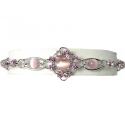 Fashion Natural Stone Costume Jewellery, Pink Cats Eye Simple Link Bracelet
