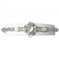 White Cats Eye Simple Link Bracelet