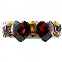 Chic Fashion Jewellery, Brown Heart Rhinestone Beaded Costume Stretch Bracelet
