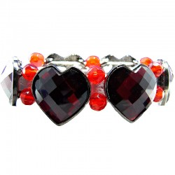 Chic Costume Jewellery, Red Heart Rhinestone Beaded Fashion Stretch Bracelet