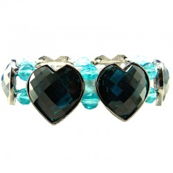 Chic Fashion Jewellery, Blue Heart Rhinestone Beaded Costume Stretch Bracelet