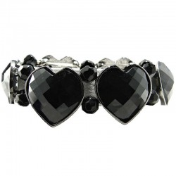 Chic Fashion Costume Jewellery, Black Heart Rhinestone Beaded Costume Stretch Bracelet