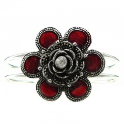 Chic Costume Jewellery, Red Flower Silver Plated Fashion Bangle Metallic Cuff Bracelet