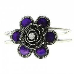 Purple Flower Silver Plated Bangle Metallic Cuff Bracelet