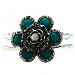 Aqua Flower Silver Plated Bangle Metallic Cuff Bracelet