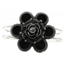 Chic Fashion Costume Jewellery, Black Flower Silver Plated Bangle Metallic Cuff Bracelet