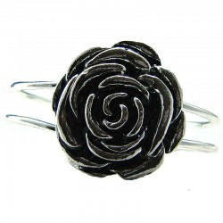 Fashion Flower Costume Jewellery, Black Rose Silver Plated Bangle Metallic Cuff Bracelet