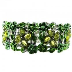 Green Rhinestone Bangle Floral Enamel Cuff Bracelet