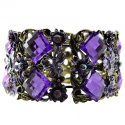 Purple Rhinestone Bangle Floral Burnished Gold Cuff Bracelet
