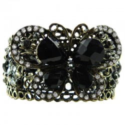 Black Rhinestone Butterfly Bangle Burnished Gold Cuff Bracelet