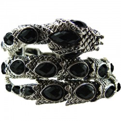 Black Rhinestone Snake Serpent Coiled Bangle Stretch Bracelet