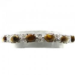 Tiger-Eyes Oval Natural Stone Tennis Bracelet