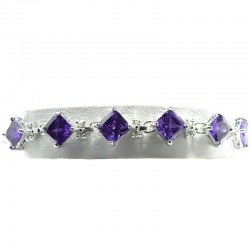 Fashion Dress Bib Costume Jewellery, Purple Cubic Zirconia Rhombus Clear CZ Tennis Bracelet