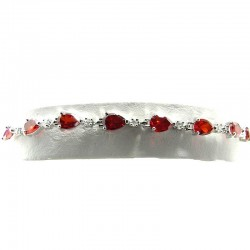 Red Cubic Zirconia Teardrop CZ Tennis Bracelet