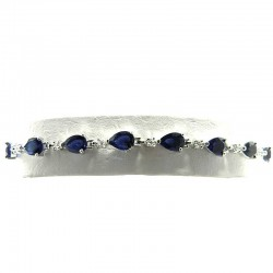 Royal Blue Cubic Zirconia Teardrop CZ Tennis Bracelet