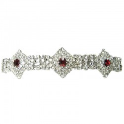 Bib Bridal Costume Jewellery, Red & Clear Diamante Geometric Fashion Wedding Dressy Bracelet