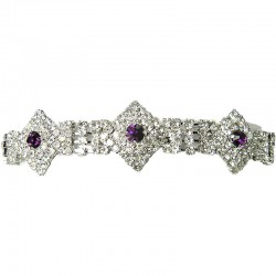 Bib Bridal Jewellery, Purple & Clear Diamante Geometric Fashio Wedding Dressy Bracelet