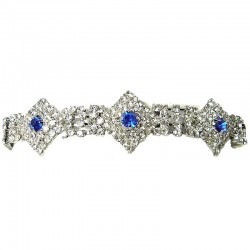 Royal Blue & Clear Diamante Geometric Dressy Bracelet