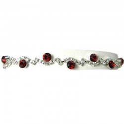 Red Rhinestone Clear Diamante Twinkle Dress Bracelet