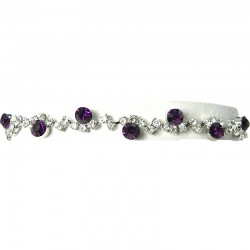 Purple Rhinestone Clear Diamante Twinkle Dress Bracelet