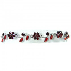 Bib Dressy Fashion Jewellery, Ruby Red Rhinestone Diamante Daisy Link Costume Flower Bracelet
