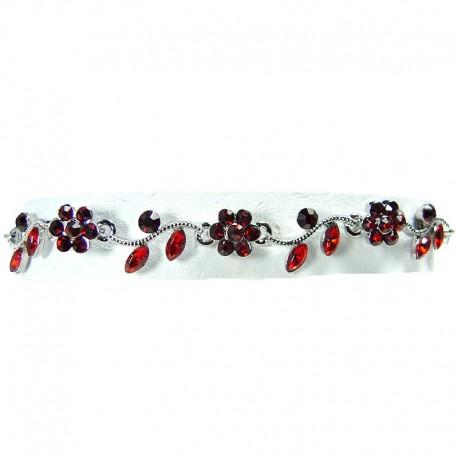 Bib Dressy Fashion Jewellery, Ruby Red Rhinestone Diamante Daisy Link Costume Flower Bracelet