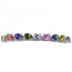 Mixed Colour Cubic Zirconia Oval CZ Crystal Tennis Bracelet