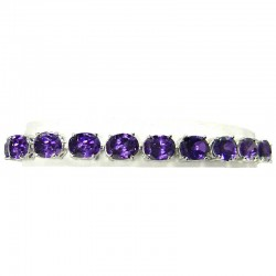 Bib Costume Jewellery, Fashion Wedding Gift, Purple Cubic Zirconia Oval CZ Crystal Tennis Bracelet