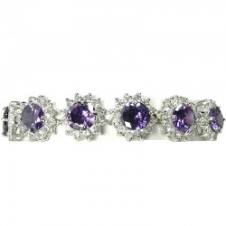 Bib Costume Jewellery, Purple Cubic Zirconia Sun Flower CZ Crystal Fashion Dressy Bracelet