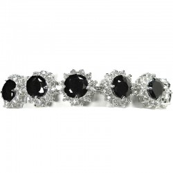 Bib Costume Jewellery, Black Cubic Zirconia Sun Flower CZ Crystal Fashion Dressy Bracelet