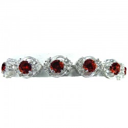 Bridal Jewellery, Fashion Wedding Gift, Red Cubic Zirconia Elegant CZ Fashion Crystal Dress Bracelet