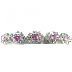 Wedding Dress Bridal Costume Jewellery, Women Fashion Gift, Pink Cubic Zirconia Elegant CZ Crystal Dress Bracelet