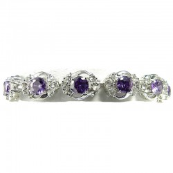 Bridal Jewellery, Fashion Women Wedding Gift, Purple Cubic Zirconia Elegant CZ Crystal Dressy Bracelet