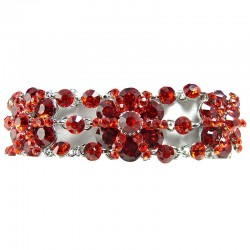 Red Rhinestone Diamante Flower Link Statement Bracelet