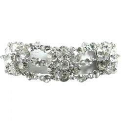 Bib Dressy Bridal Jewellery, Fashion Wedding Gift, Clear Rhinestone Diamante Flower Link Statement Costume Bracelet