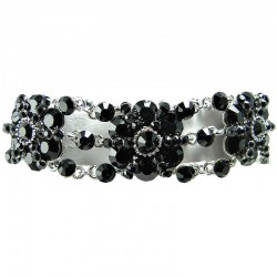 Dressy Bib Bridal Jewellery, Fashion Wedding Gift. Black Rhinestone Diamante Flower Link Costume Statement Bracelet