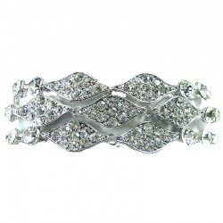 Clear Diamante Wave Rhinestone Link Statement Bracelet
