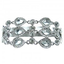 Clear Teardrop Link Rhinestone Diamante Statement Bracelet