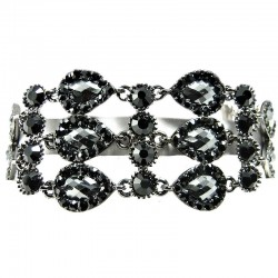 Black Teardrop Link Rhinestone Diamante Statement Bracelet