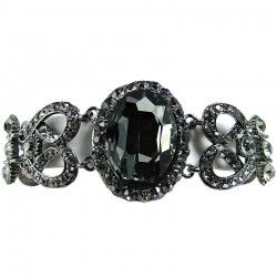 Smokey Grey Oval Rhinestone Diamante Statement Bracelet