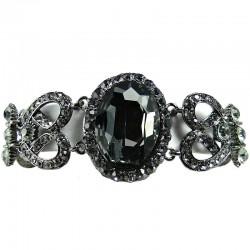 Smokey Grey Oval Rhinestone Diamante Statement Bracelet